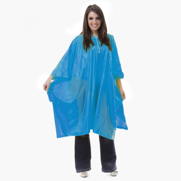 Adult-Deluxe-PVC-rain-poncho-in-Cyan
