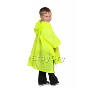 Child Waterproof Rain Poncho - Reusable Deluxe PVC Suit 4-6 yrs Fluorescent