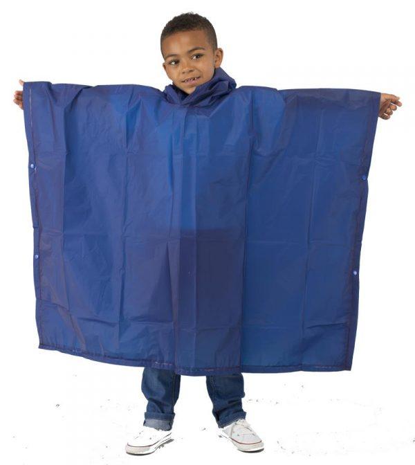 Child Waterproof Rain Poncho suit 6-10yrs Reusable Deluxe PVC Blue