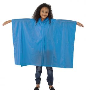 Child Waterproof Rain Poncho suit 6-10yrs Reusable Deluxe PVC Blue