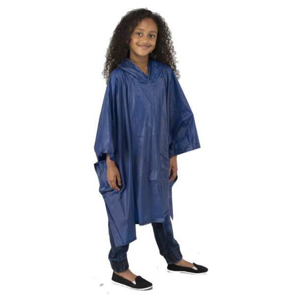 Child-Waterproof-Rain-Poncho-suit-6-10yrs-Reusable-Deluxe-PVC-Dark-Blue