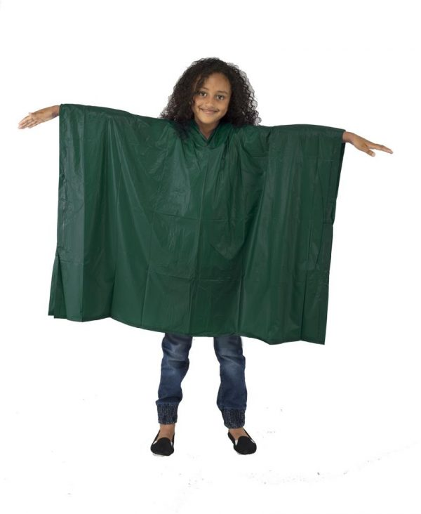Child Waterproof Rain Poncho suit 6-10yrs Reusable Deluxe PVC Green