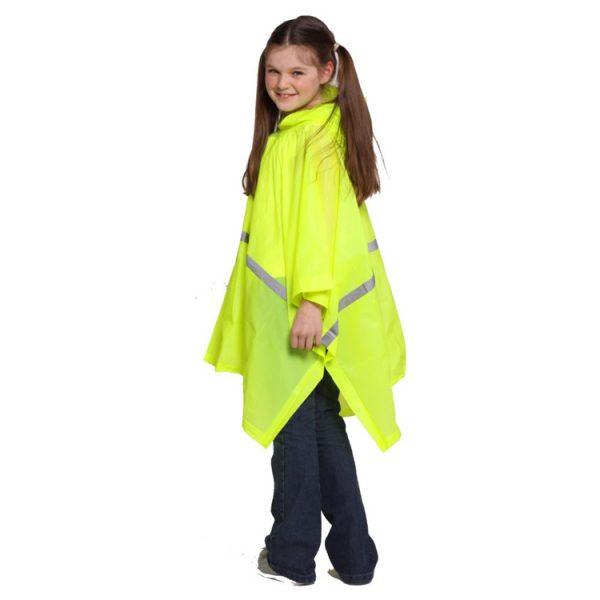 Child-Waterproof-Rain-Poncho-suit-6-10yrs-Reusable-Deluxe-PVC-High-Vis