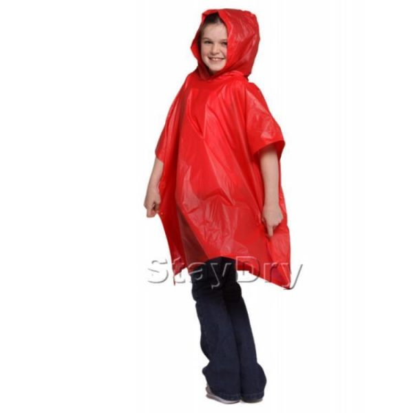 Child Waterproof Rain Poncho suit 6-10yrs Reusable Deluxe PVC Red 2