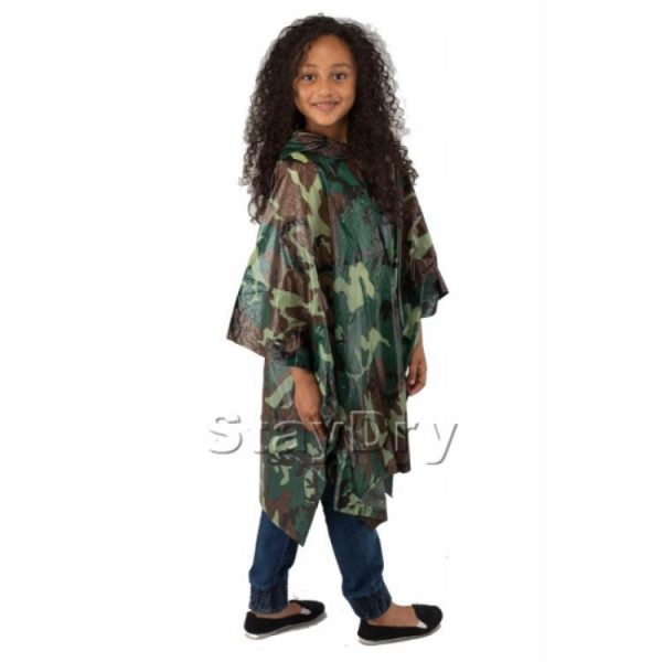 Child Waterproof Reusable Camouflage Deluxe PVC Rain Poncho
