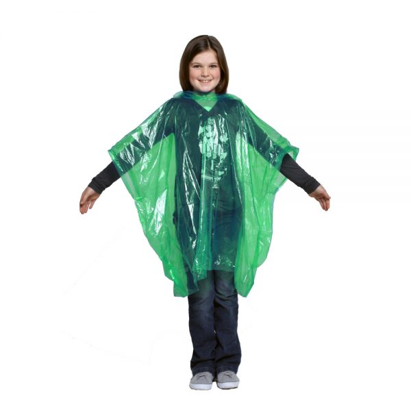 Child green LDPE rain poncho
