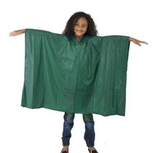 Childs Waterproof Rain Poncho - EVA Reusable Green