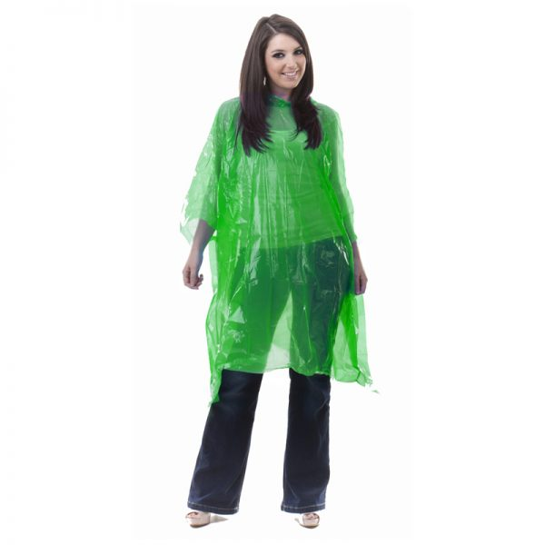 Green LDPE rain poncho