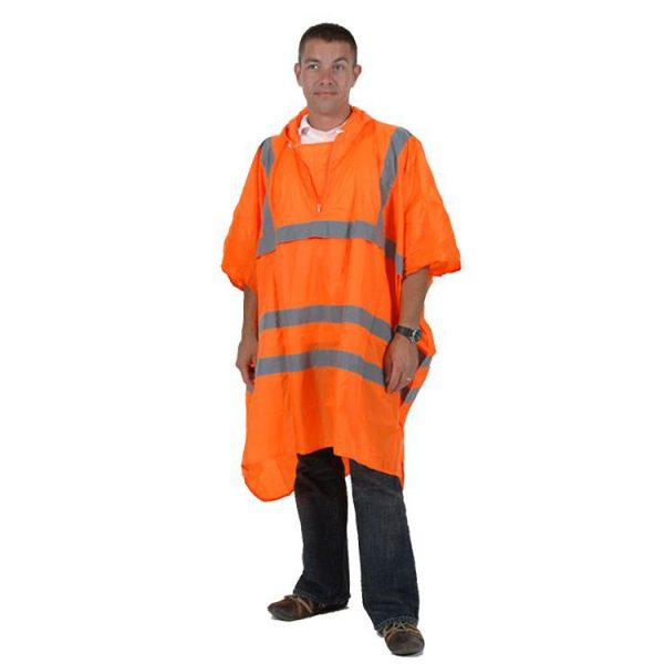 High-Visibility-Adult-Waterproof-Rain-Poncho-PU-Coated-Nylon-Orange