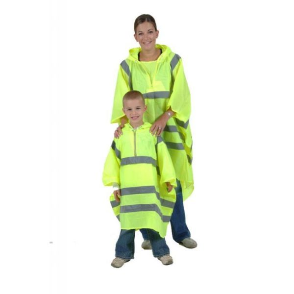 High Visibility Childs Waterproof Rain Poncho - PU Coated Nylon 2