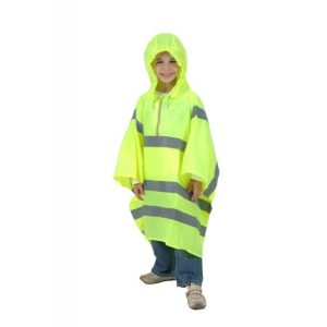 High Visibility Childs Waterproof Rain Poncho - PU Coated Nylon.