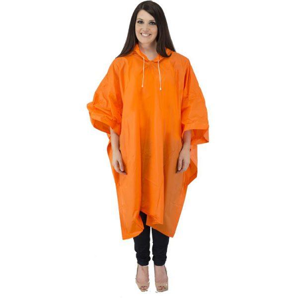 Waterproof-Adult-Rain-Poncho-orange