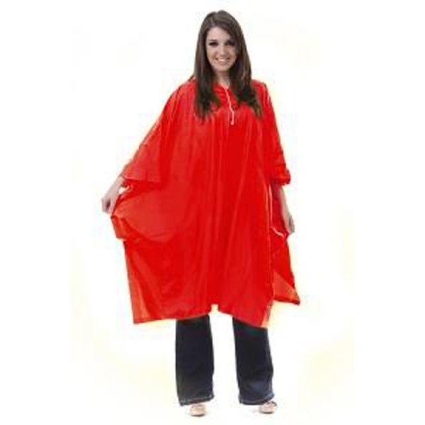 Waterproof-Adult-Rain-Poncho-red