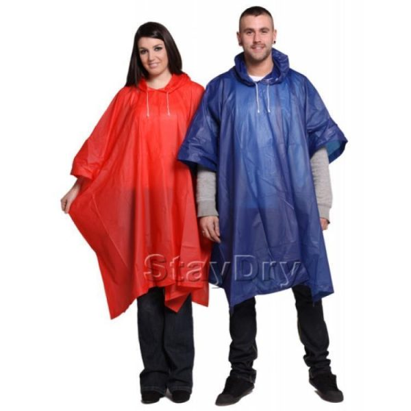 reusable emergency rain poncho red and blue