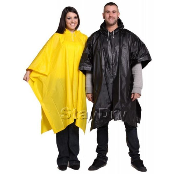 Black and yellow reusable emergency rain poncho