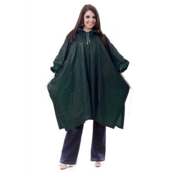 green pvc rain poncho